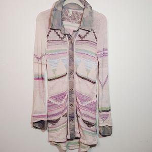 BKE Gimmicks Camo Knit Tunic Button Down